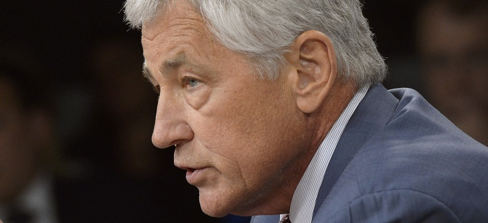 Defense Secretary Chuck Hagel and Vice Chairman of the Joint Chiefs of Staff Adm. James Winnefeld at a press conference on Wednesday