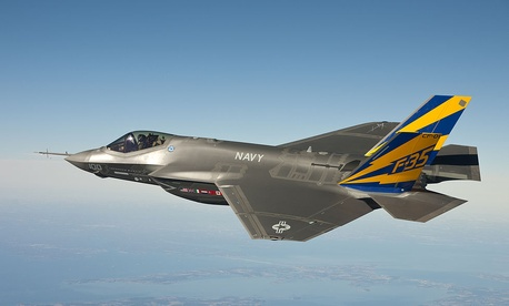 An F-35 B in flight. BAE Systems Inc. is one of many contractors involved in the plane's construction