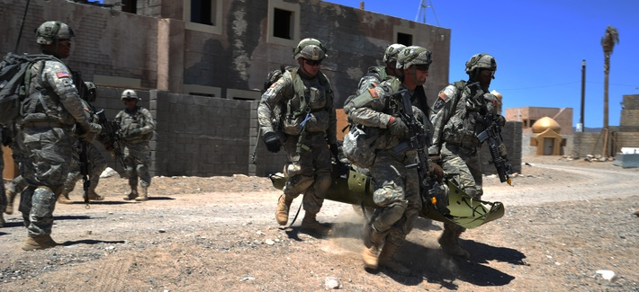 Alpha Company, 2nd Battalion, 23rd Infantry Regiment, 4th Stryker Brigade Combat Team, 2nd Infantry Division, train at the National Training Center in Fort Irwin, Calif., June 11, 2012.