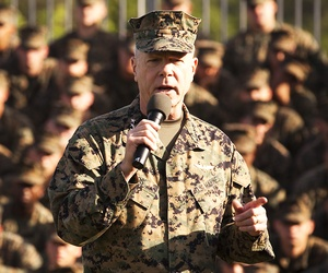 Marine Corps Commandant Gen. James Amos speaking to troops in Afghanistan