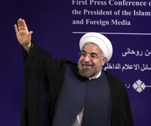 Iran's new President Hasan Rouhani after his first press conference
