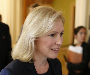 Sen. Kirsten Gillibrand, D-N.Y., arriving for a press conference on the military's sexual assault crisis