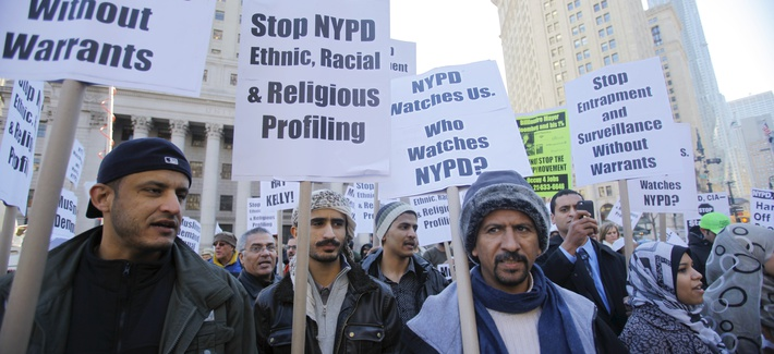 Protestors speak out against the NYPD's surveillance operations targeting Muslim communities