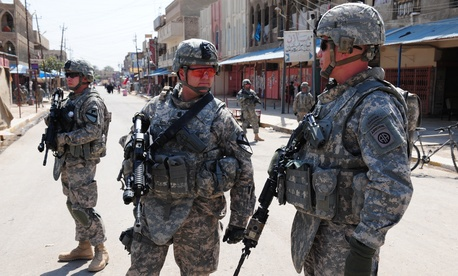 Soldiers patrolling in Baghdad