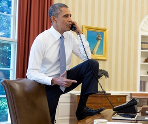 President Obama on the phone with House Speaker John Boehner