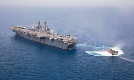 The amphibious assault ship USS Kearsarge conducting operations in the 5th fleet AOR
