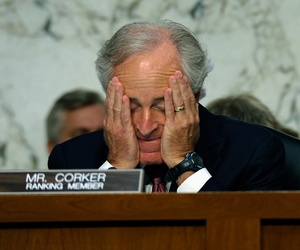 Sens. Robert Menendez and Bob Corker at a Senate Foreign Relations Committee Hearing on Syria