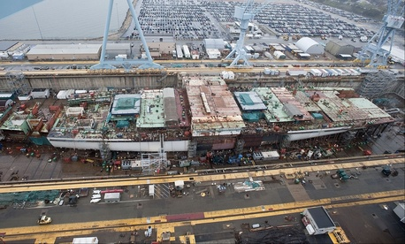 The USS Gerald R. Ford is under construction at Huntington Ingalls Newport News Shipbuilding in Virginia.