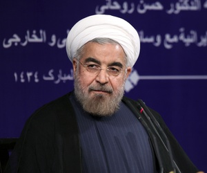 Iran's President Hasan Rouhani at his first press conference