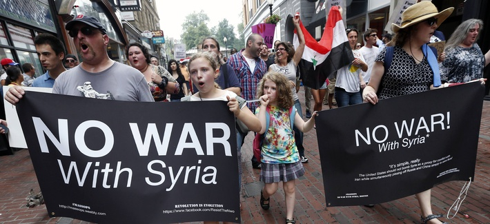 Protests in Boston against a limited U.S. strike in Syria