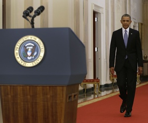 President Obama walking to the podium before his speech on Tuesday night