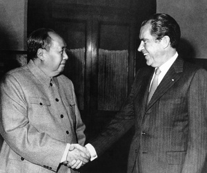 President Richard Nixon meeting with Chinese Communist Party leader Mao Tse-Tung