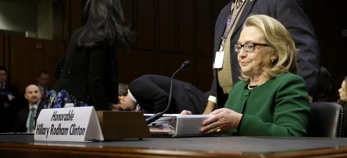 Former Secretary of State Hillary Clinton testifying to a Senate panel on Benghazi