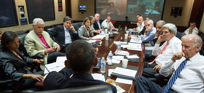 President Obama meeting with his national security team in the Situation Room