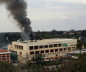 The Westgate mall in Nairobi billowing black smoke after multiple blasts rocked the building