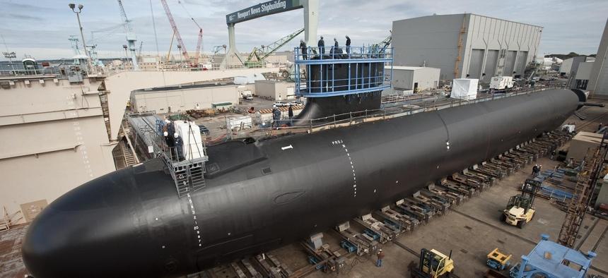 The USS Minnesota, a Virginia-class attack submarine under construction