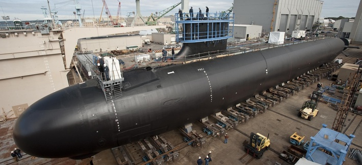 The USS Minnesota, a Virginia-class attack submarine under construction