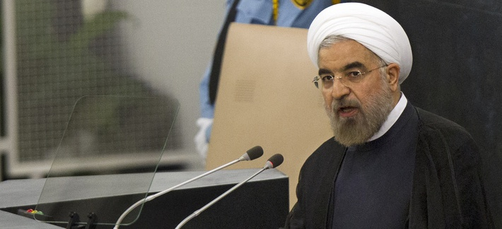 Iran's President Hasan Rouhani speaking during the U.N General Assembly