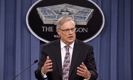 Pentagon Comptroller Robert Hale speaking to reporters during a press briefing on Friday