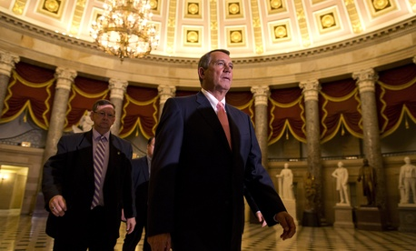 Speaker of the House John Boehner, R-Ohio, walks to the House floor for a vote at the Capitol in Washington, Monday night, Sept. 30, 2013.