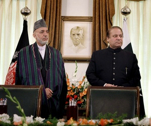 Afghan President Hamid Karzai and Pakistani Prime Minister Nawaz Sharif met in Islamabad on Aug. 26.