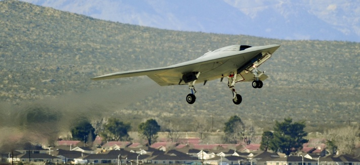 The United Nations has objected to autonomous drones like the Navy's X-47B, seen here successfully completing its historic first flight at Edwards Air Force Base, Calif., in 2011.