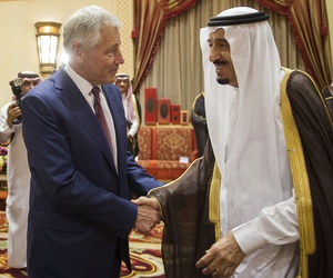 U.S. Secretary of Defense Chuck Hagel shakes hands with Saudi Crown Prince, Deputy Premier and Minister of Defense Salman bin Abdulaziz at his residence in Riyadh, on April 23, 2013.