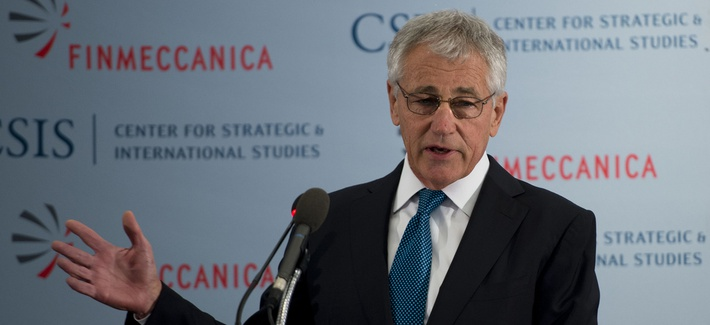 Defense Secretary Chuck Hagel speaks at the Center for Strategic and International Studiesin Washington D.C. on Tuesday.