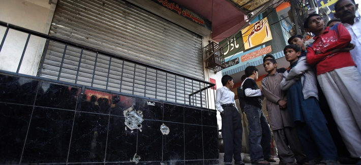 The spot outside the bakery in Islamabad where Nasiruddin Haqqani was shot and killed
