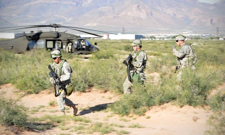 Soldiers taking part in the Network Integration Evaluation exercise at Fort Bliss, Texas