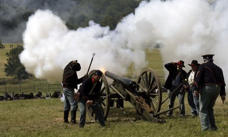 A reenactment of PIckett's charge in Gettysburg, Penn.