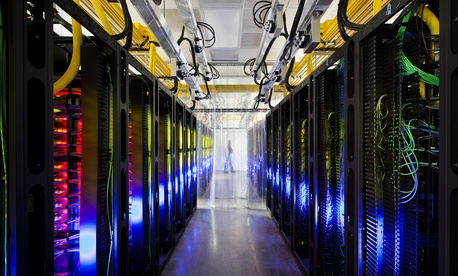 The inside of a Google data center in Council Bluffs, Iowa