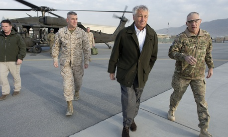Defense Secretary Chuck Hagel on a visit to Afghanistan in March.