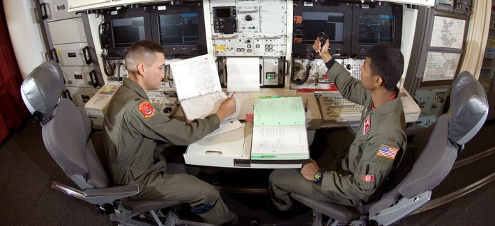 Two Air Force officers on duty at Minot Air Force Base in North Dakota