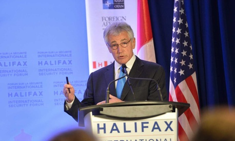 Defense Secretary Chuck Hagel speaking at the International Security Forum in Halifax, Nova Scotia, Canada.