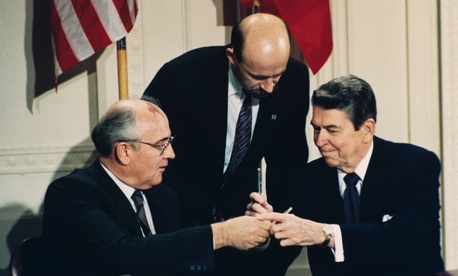 President Ronald Reagan and Soviet Premier Mikhail Gorbachev signing the 1987 Intermediate Range Nuclear Forces Treaty