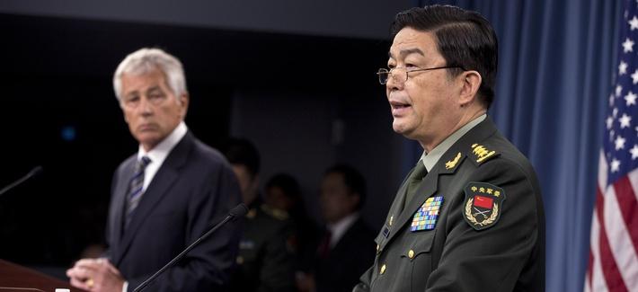Defense Secretary Chuck Hagel and China's Minister of Defense Gen. Chang Wanquan at the Pentagon, Aug. 19, 2013.