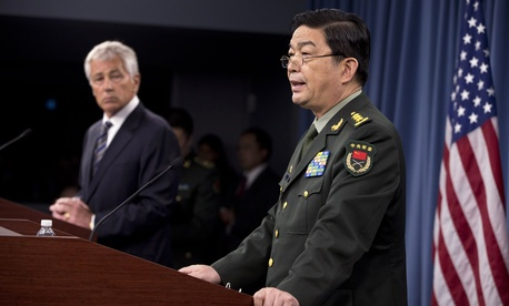 Defense Secretary Chuck Hagel and China's Minister of Defense Gen. Chang Wanquan at the Pentagon, Aug. 19, 2013.