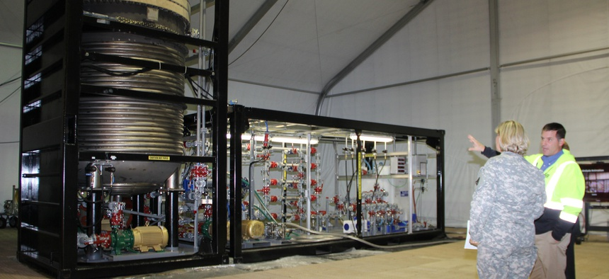 An example of the Field Deployable Hydrolysis System being displayed at the Edgewood Chemical Biological Center