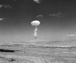 A nuclear explosion in Yucca Mountain, Nevada in 1952