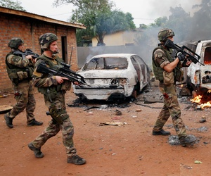 French troops on patrol in Bangui, Central African Republic