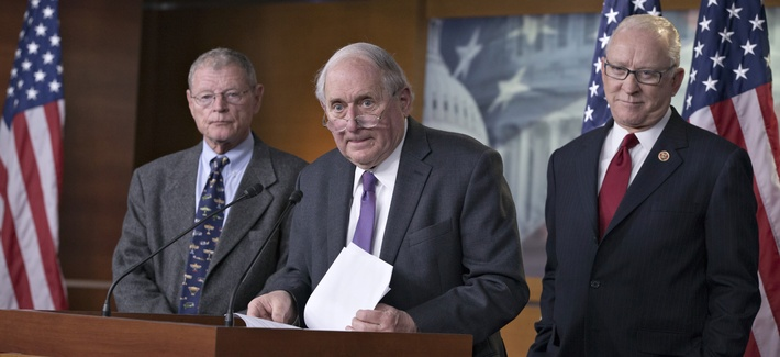 """Sen. Carl Levin, D-Mich., Sen. Jim Inhofe, R-Okla., and Rep. Howard """"Buck"""" McKeon, R-Calif., tell reporters about an agreement on the NDAA"""