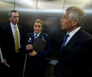 Principal deputy undersecretary of defense for intelligence Marcel Lettre with Secretary of Defense Chuck Hagel and former Pentagon Press Secretary George Little