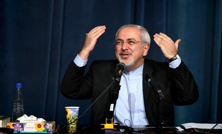 Iran's Foreign Minister, Javad Zarif, speaking in front of students in Tehran
