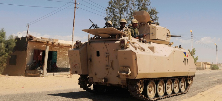An Egyptian APV patrols a village in Northern Sinai
