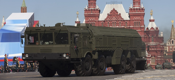 A copy of the nuclear capable Iskander missile that Russia plans to deploy to its borders