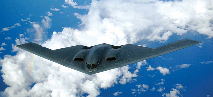 A B-2A Spirit bomber, one of the systems that has received the Family of Advanced Beyond Line-of-Sight Terminals