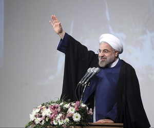 Advocating increased engagement with the foreign world, Iranian President Hassan Rouhani speaks to students at Shahid Beheshti University, Tehran, Iran, Dec. 7, 2013.