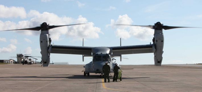 An MV-22 Osprey at MCAS Futenma
