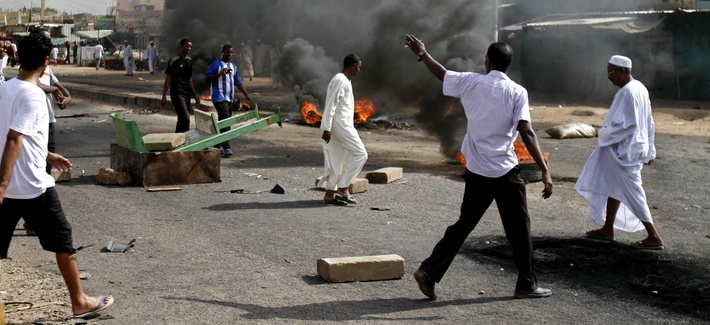 Protestors burning tires in Kadro, South Sudan, after the Sudanese government lifted fuel subsidies